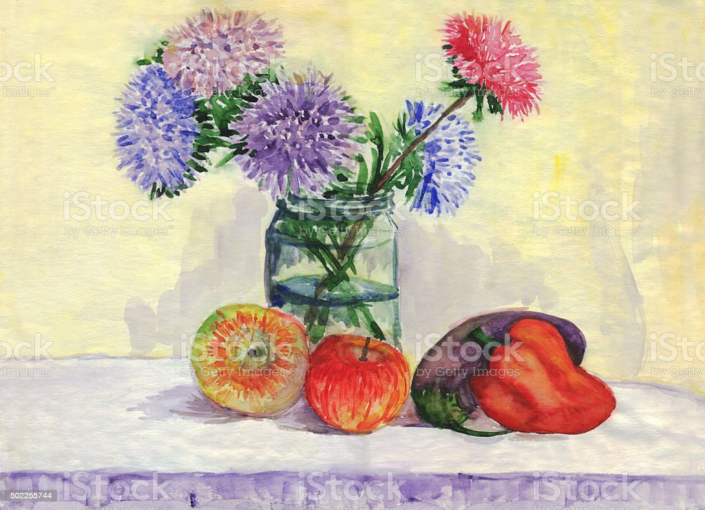 Still life. Bouquet of asters, apples, peppers, eggplant. Watercolor painting vector art illustration