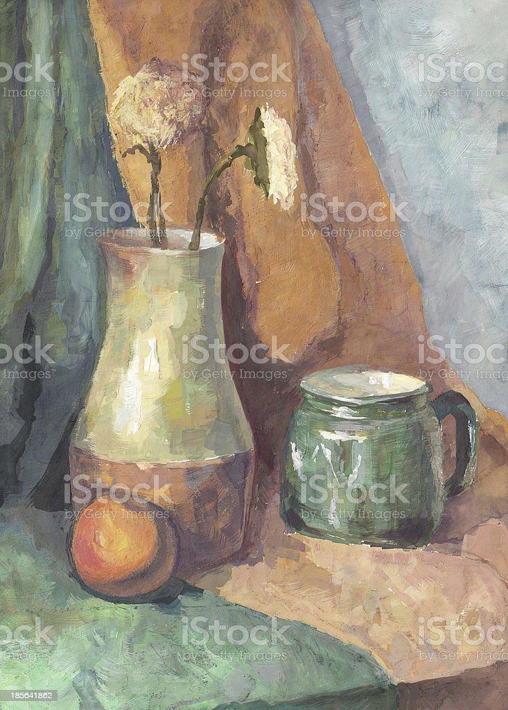Still life: Flowers in Jug and Mug vector art illustration