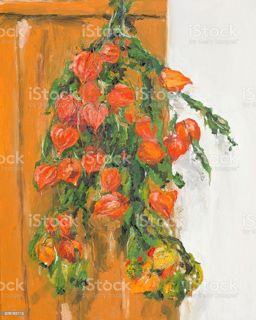 still life of orange physalis flowers vector art illustration