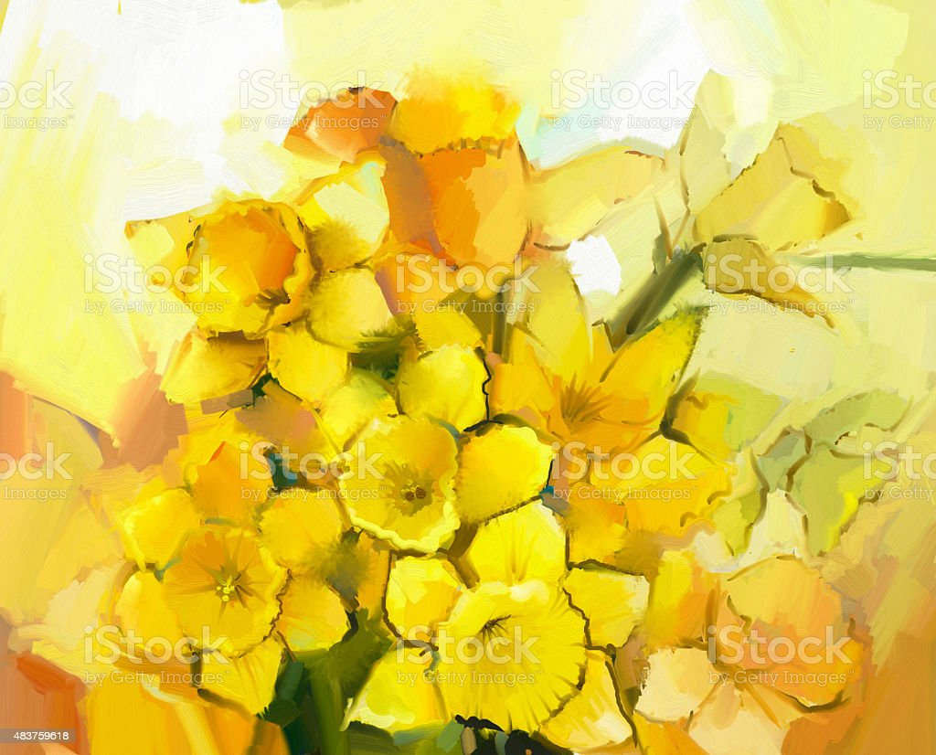 Still life of yellow and orange color flowers vector art illustration