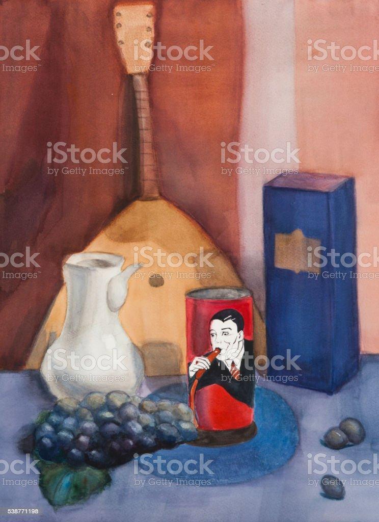 Still life on canvas vector art illustration