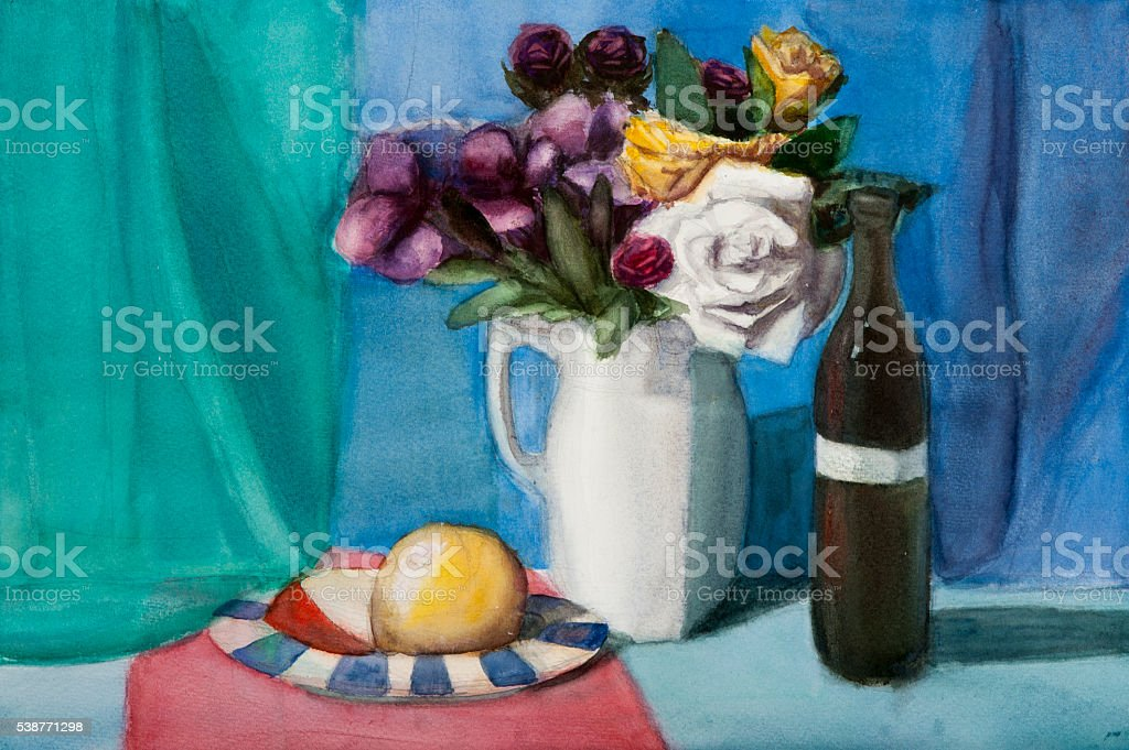 Still life on canvas vector art illustration