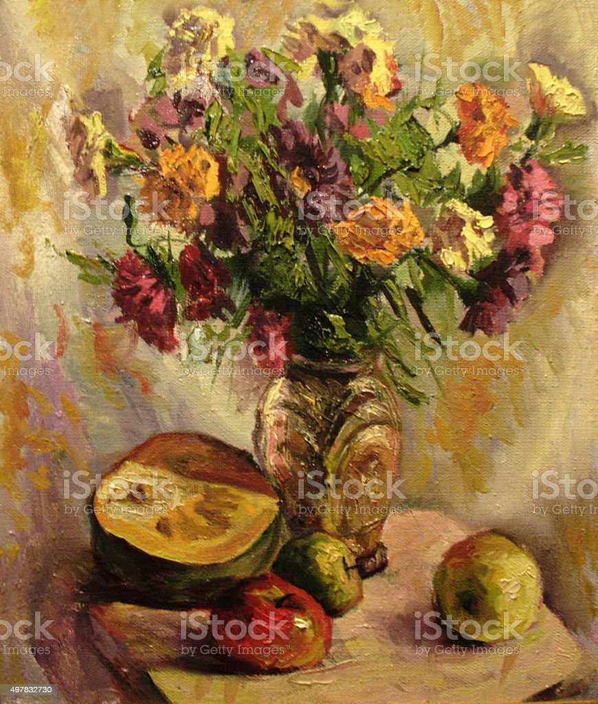 Still life with a bouquet of asters. Oil painting vector art illustration