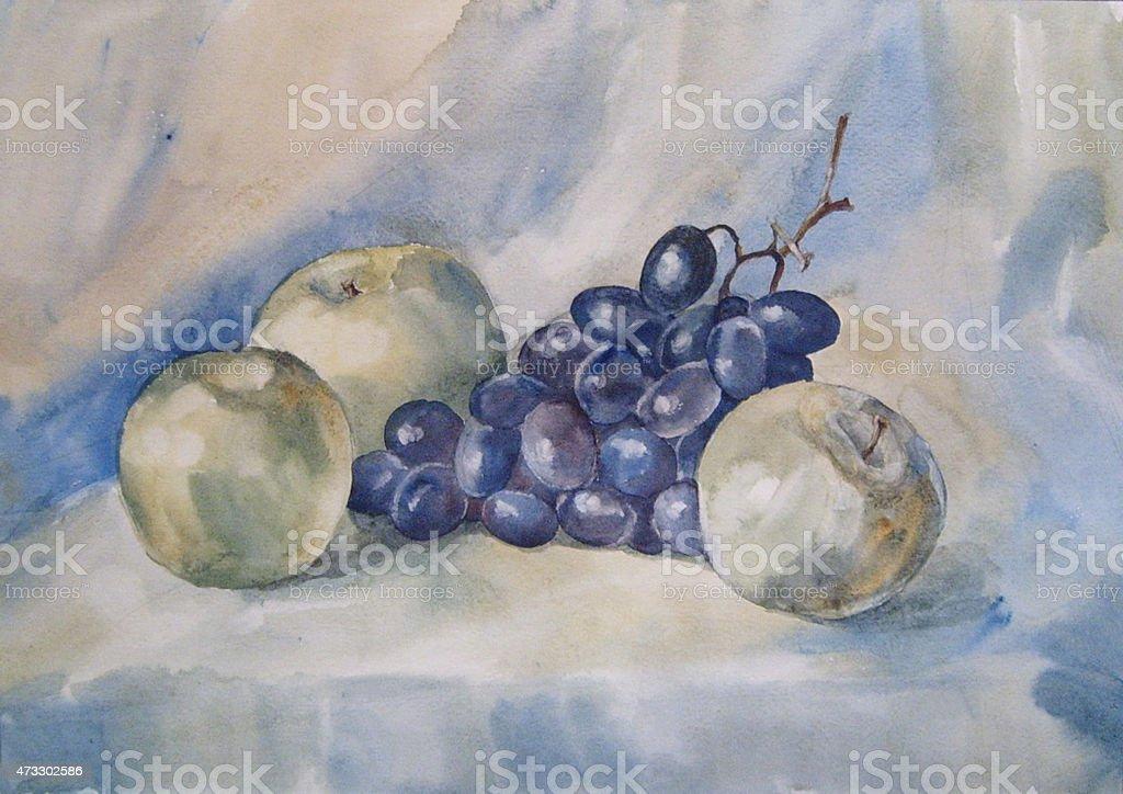 Ancora la vita con mela e uva-watercolor illustrazione royalty-free