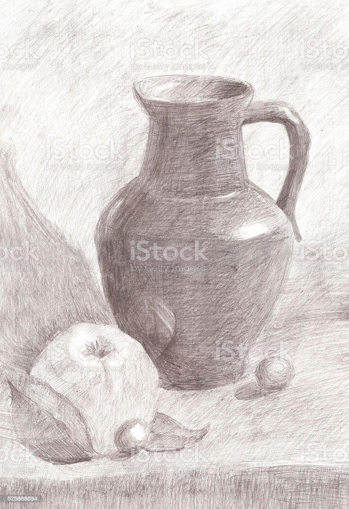 Still Life with apple and Jug vector art illustration