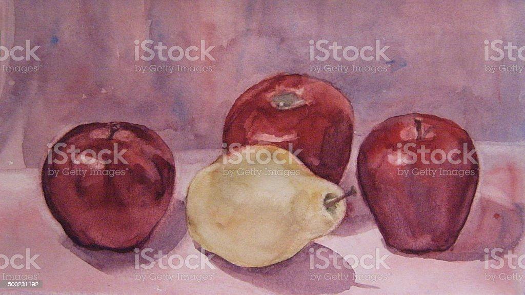 Natura morta con una mela e pera, pittura ad acquerello illustrazione royalty-free