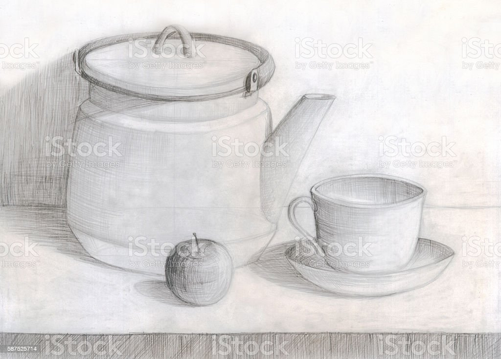 still life with kettle and Apple,  pencil drawing vector art illustration
