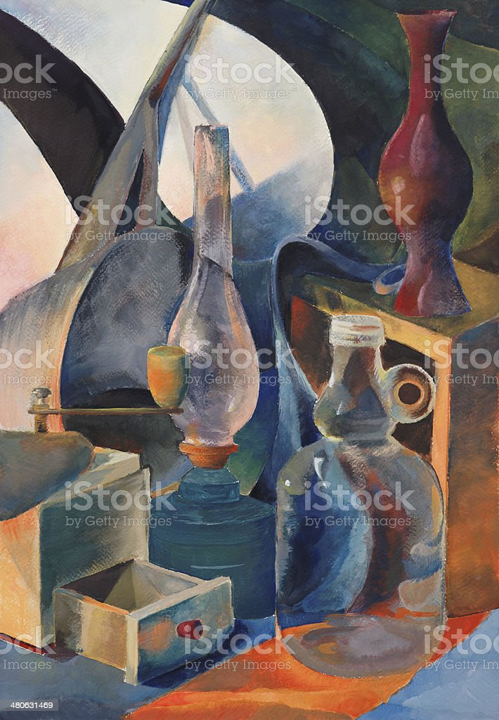 still life with lamp and bottle vector art illustration