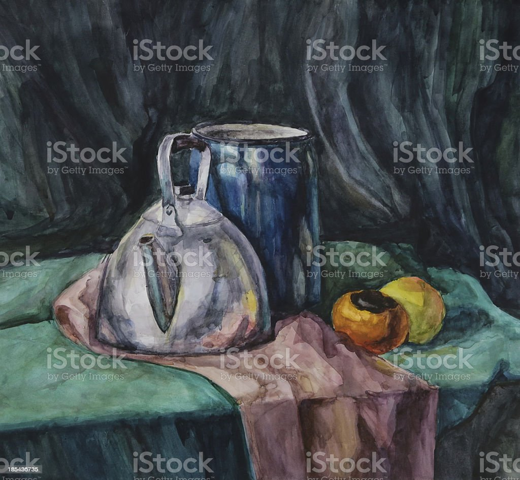 Still life with Metal Teapot and Milk-can vector art illustration