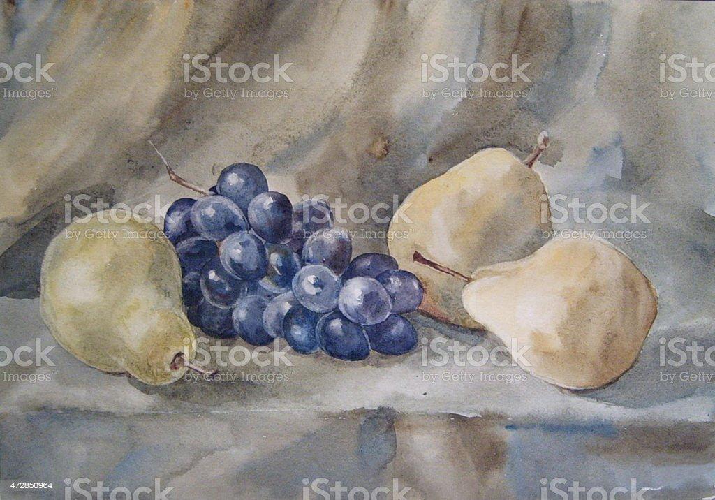 Natura morta con pere e uva-watercolor illustrazione royalty-free