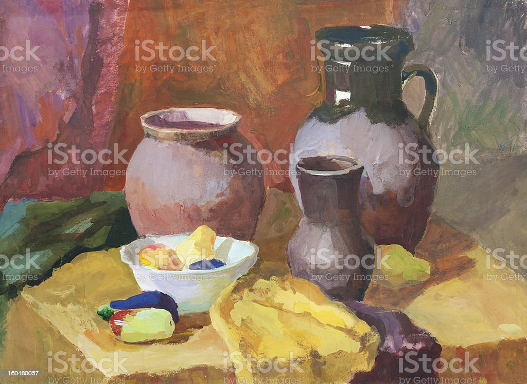 Still life with pottery and vegetables vector art illustration