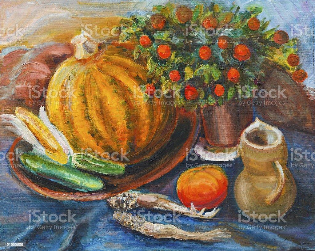 Still life with pumpkin vector art illustration