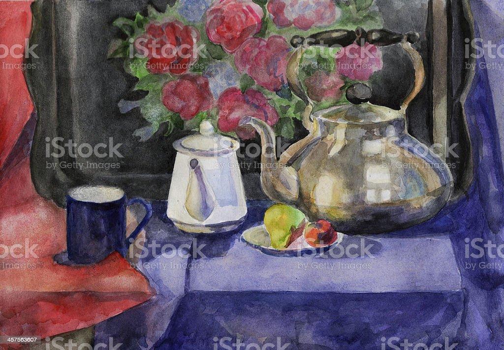 Still Life with teapot, watercolor vector art illustration