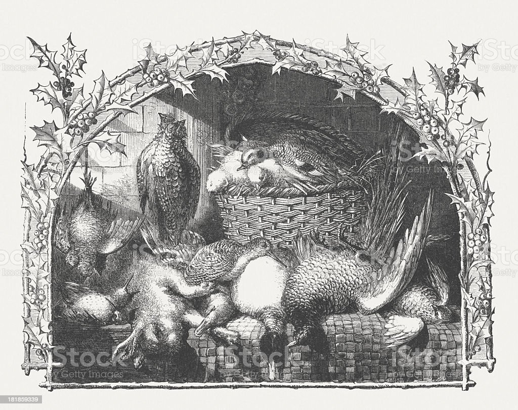 Still life with venison, wood engraving, published in 1864 vector art illustration