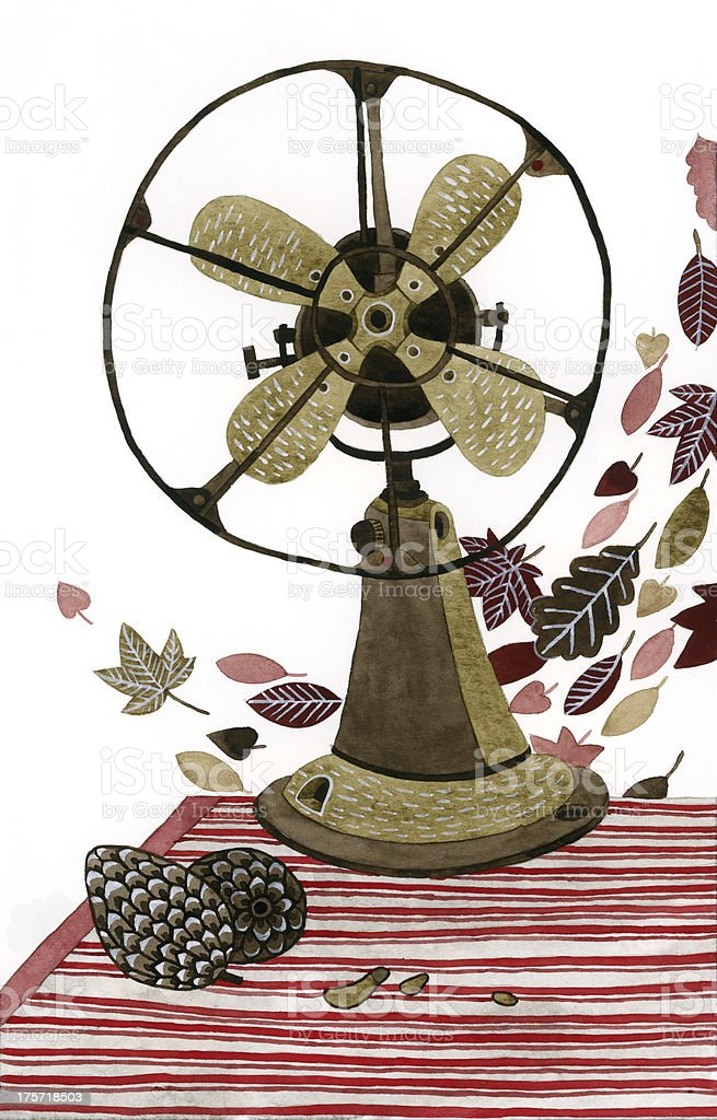 Still life with vintage fan and autumn leaves royalty-free stock vector art