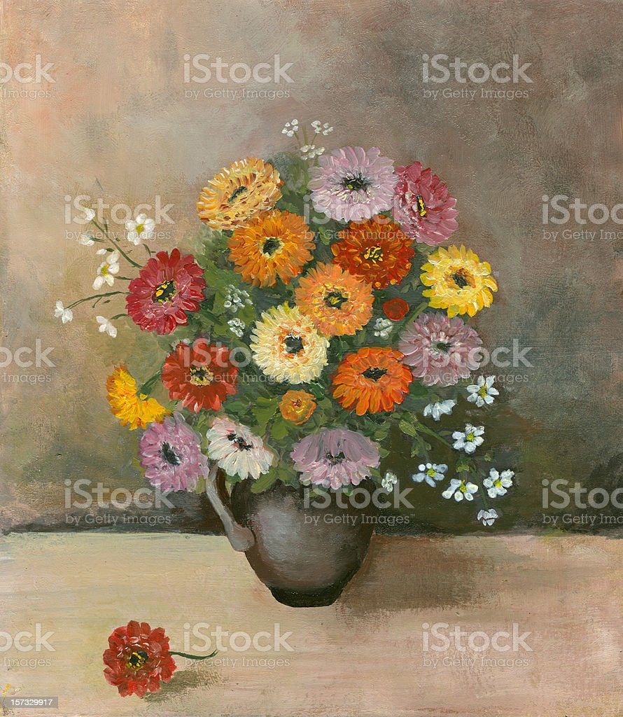 Still life with zinnia flowers on textured grey background vector art illustration