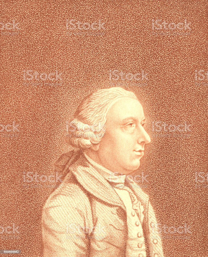 Stipple engraving of an 18th century man vector art illustration