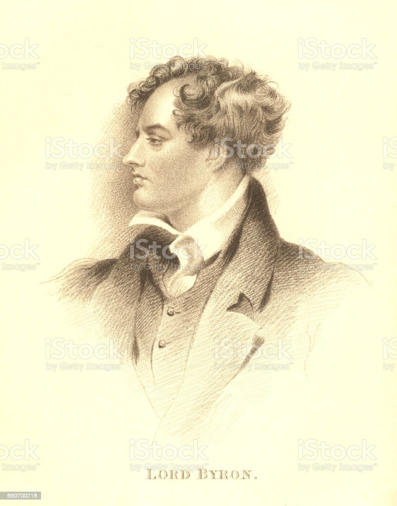 Stipple engraving of Lord Byron vector art illustration