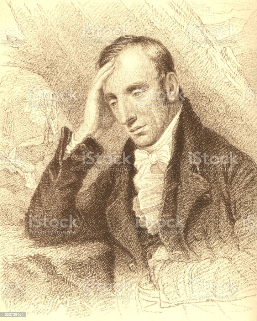 Stipple engraving of William Wordsworth, poet vector art illustration