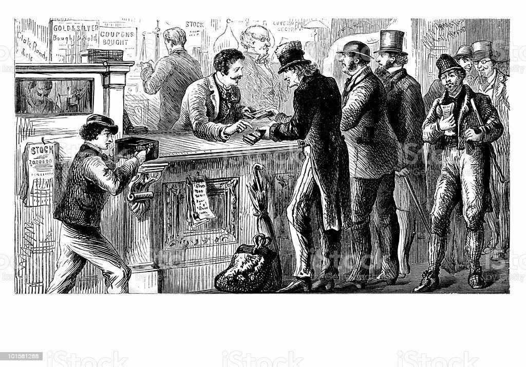 Stock Broker's Office, circa 1873 vector art illustration