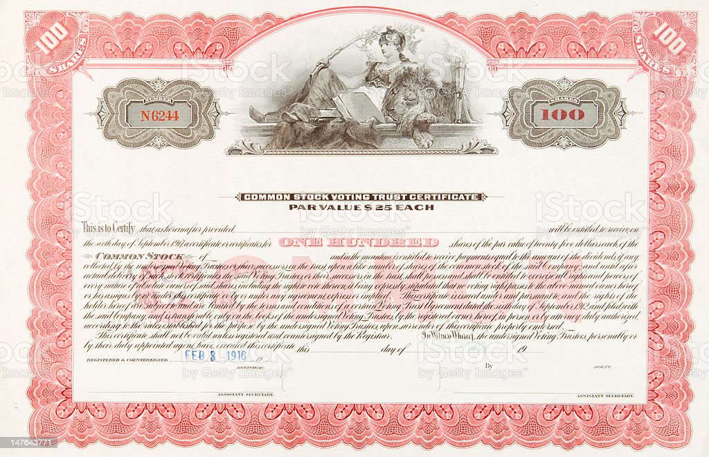 U.S. Stock Certificate 1916 Woman Reclining with Sleeping Lion vector art illustration