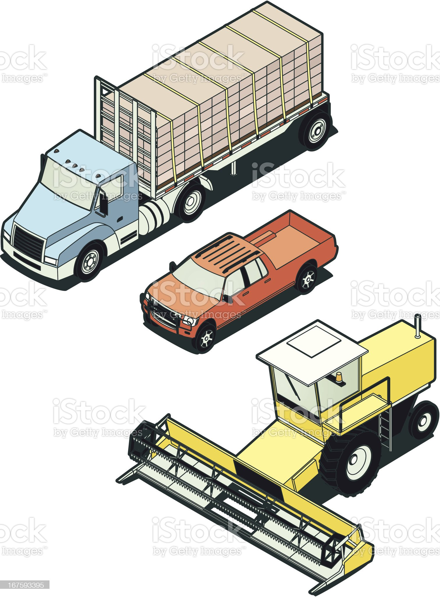 Stock Isometric Farm Vehicles royalty-free stock vector art