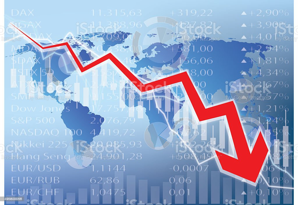 stock market crash illustration vector art illustration