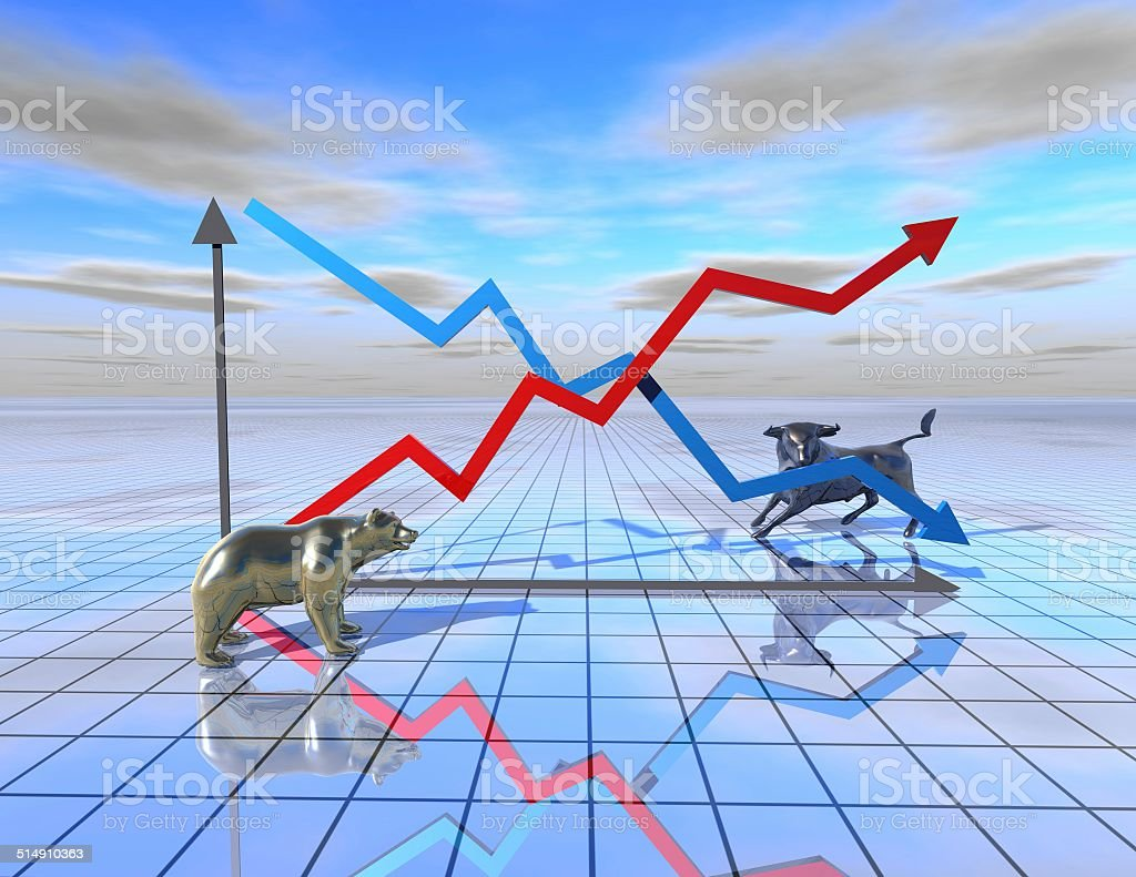 stock market graph abstract illustration with bear and bull vector art illustration