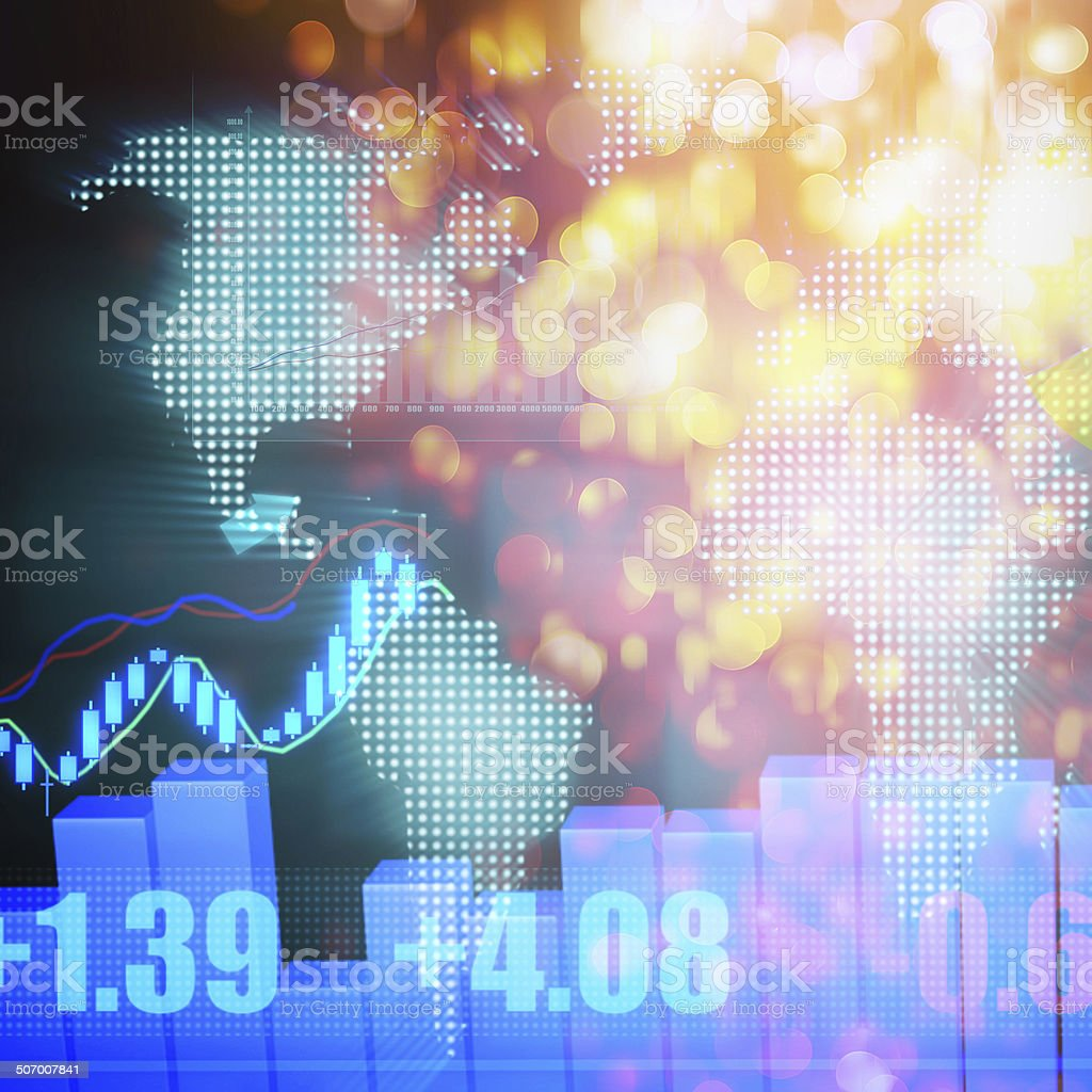 Stock Market Graph and Bar Chart vector art illustration