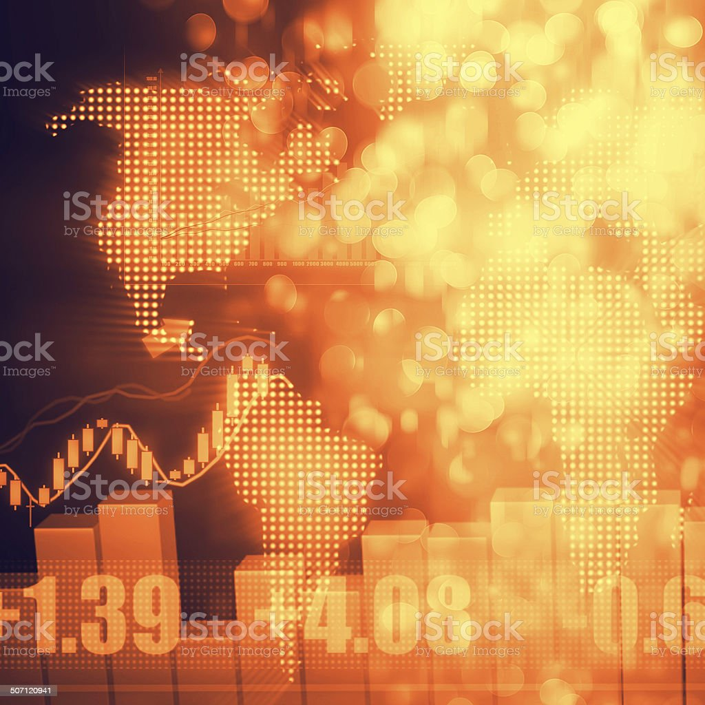 Stock Market Graph and Bar Chart vector art illustration