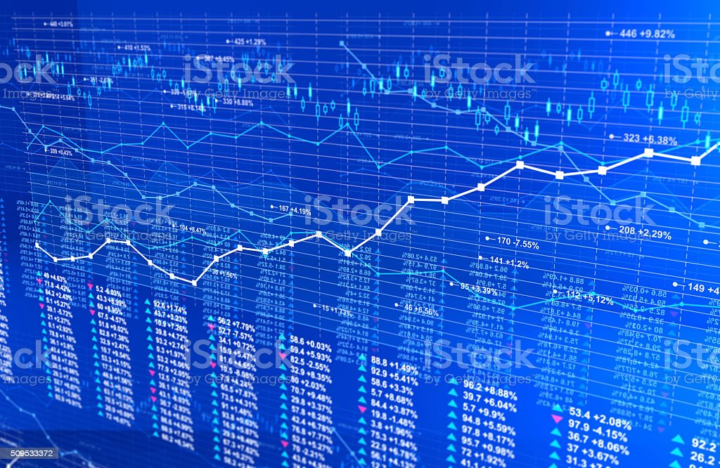 Stock market infographics background with line charts, blue light vector art illustration