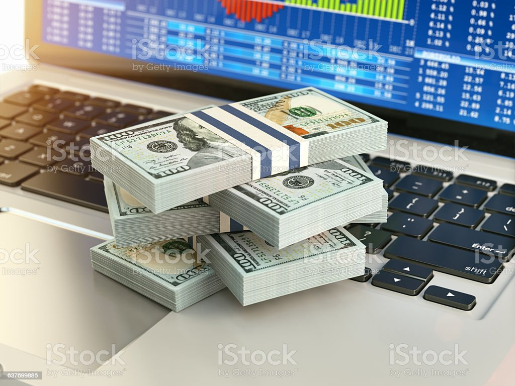 Stock market online business concept. Pack of dollar on laptop vector art illustration