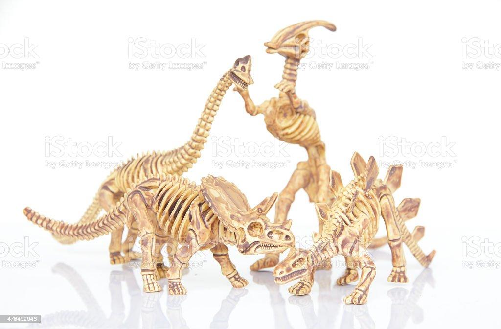 Stock Photo - Dinosaur skeleton isolated on a white background vector art illustration