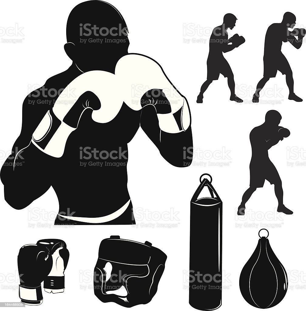 Stock Vector Illustration: Box and boxing royalty-free stock vector art