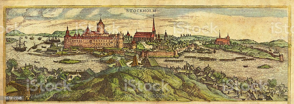 Stockholm Antique View royalty-free stock vector art