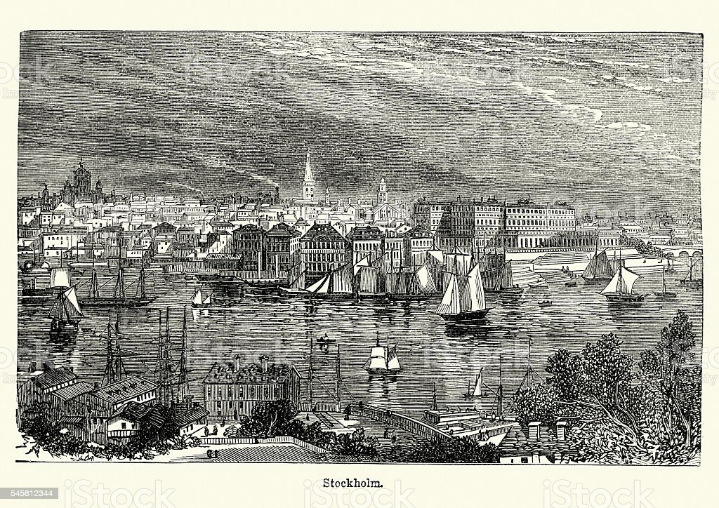 Stockholm, Sweden in the 19th Century vector art illustration
