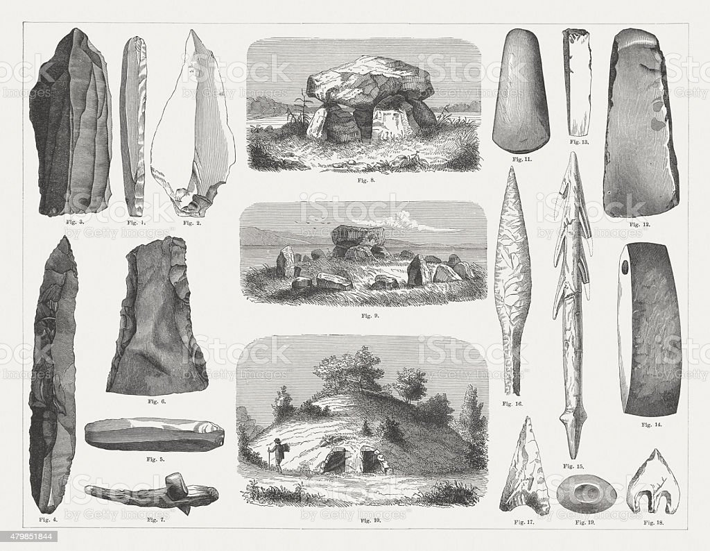 Stone Age, published in 1878 vector art illustration