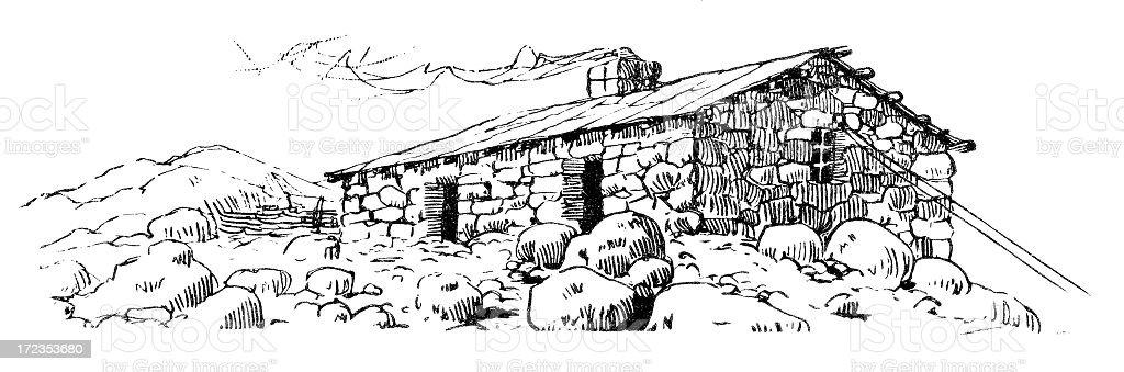 stone cabin engraving royalty-free stock vector art