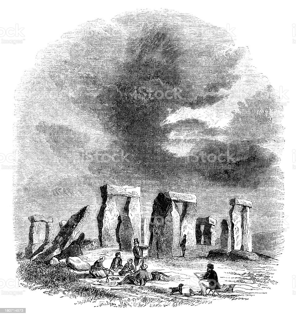 Stonehenge - Victorian engraving royalty-free stock vector art