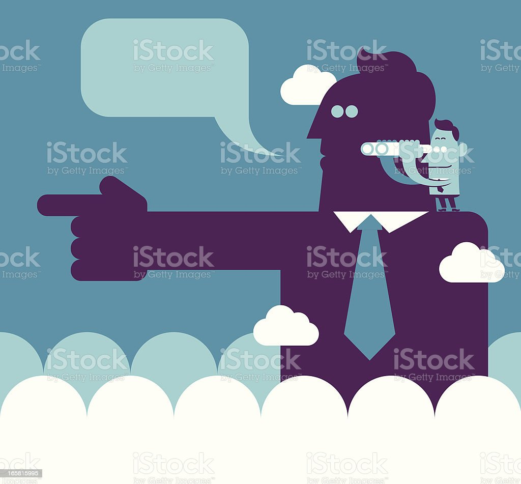 Stood on the shoulders of giants royalty-free stock vector art