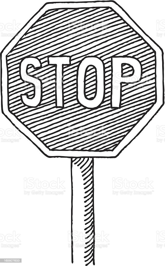 Stop Sign Drawing royalty-free stock vector art