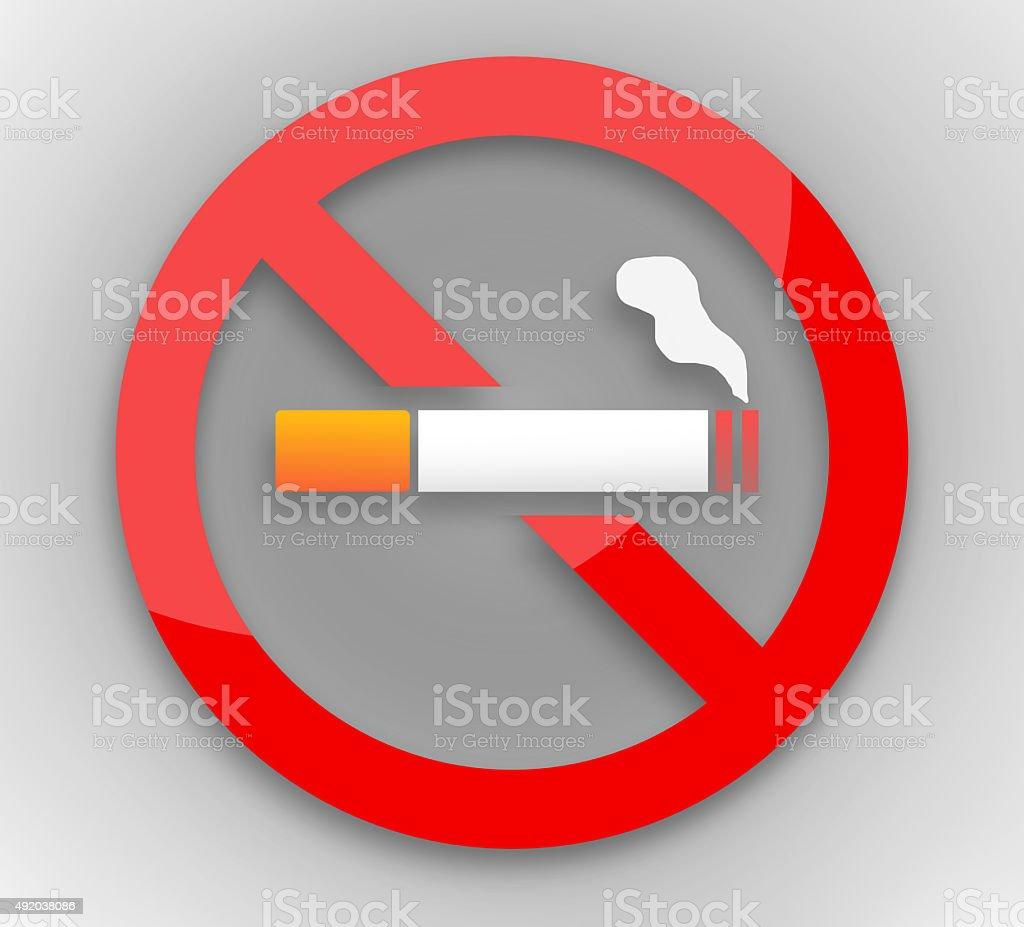 stop smoking red round vector art illustration