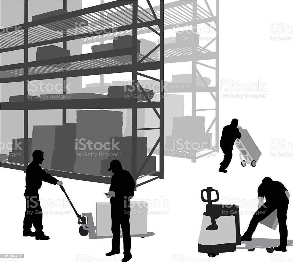Storage Facility Vector Silhouette vector art illustration