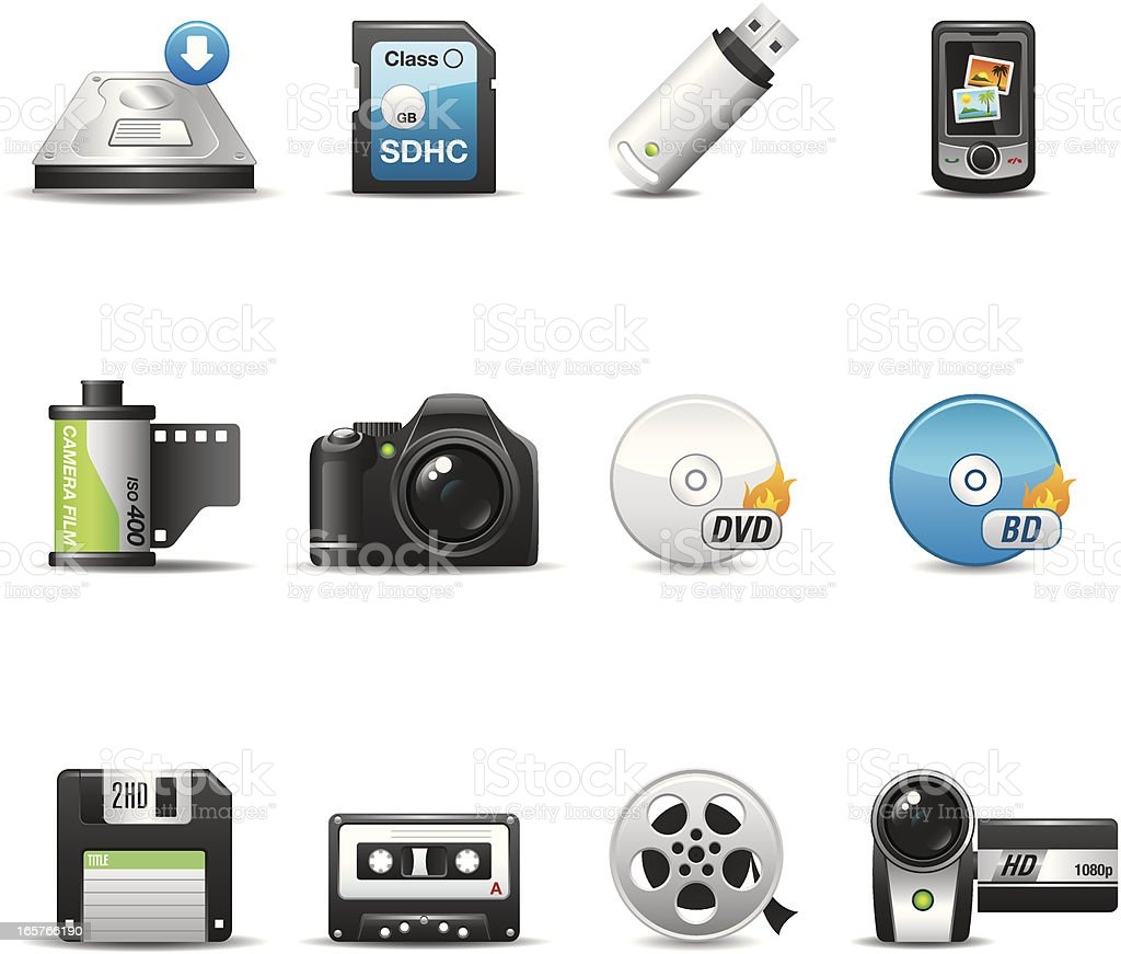Storage & Recording Media Icon Set | Elegant Series royalty-free stock vector art