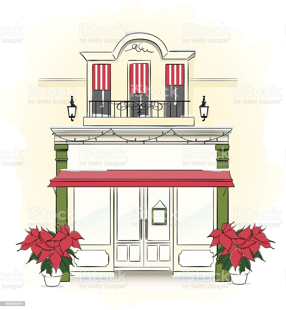 Store Front at Christmas time royalty-free stock vector art