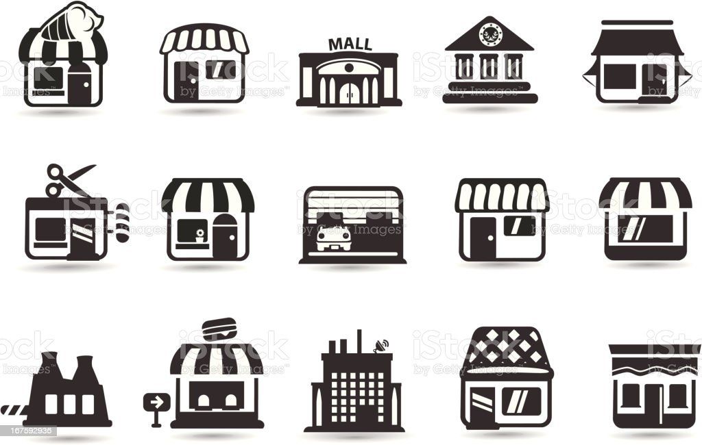 Store Front Icons royalty-free stock vector art