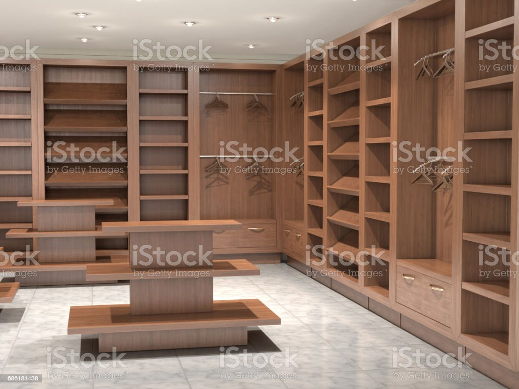 Interior wooden shelves free vector - Store Inside Empty With Wooden Shelves 3d Illustration Royalty Free Stock Vector Art
