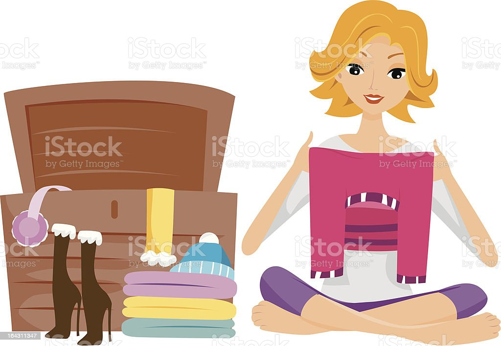 Storing Clothes royalty-free stock vector art