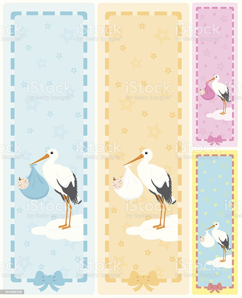 Stork holding a baby vertical banners with copy space. royalty-free stock vector art