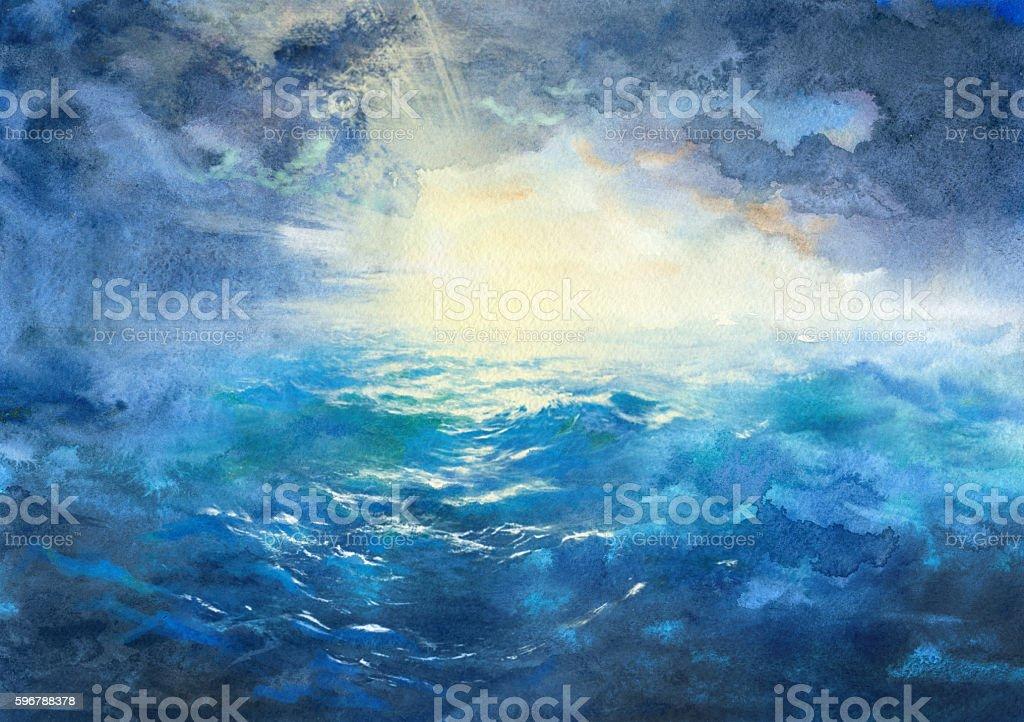 storm at sea, watercolor painting vector art illustration